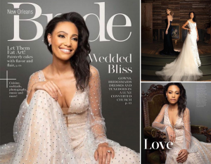 Collage of Gionne wearing wedding dresses from the featured editorial including the cover page