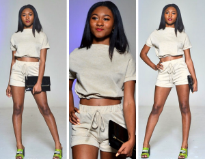 Collage of Bryana McDowell modeling a two piece short and set for mentioned clothing boutique