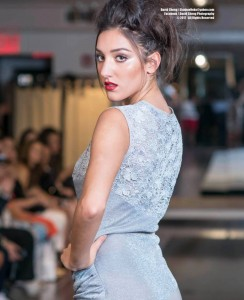 Catena, Barbizon TV grad, walked the runway at New York Bridal Fashion Week's Couture show by The Knot for Sebastien Luke
