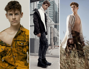 collage of Dawson Gwin modeling in different outfits and poses