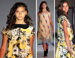 Collage of Francesca Sadek wearing yellow patterned outfits on the runway