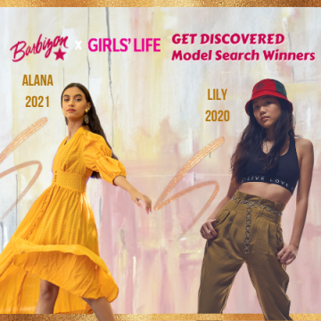 Colorful Graphic of Alana and Lily modeling side by side announced as winners of the Barbizon & Girls' Life Contest