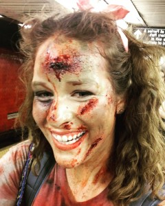 Hannah, Barbizon St. Louis alum, was on set in New York City filming as a zombie