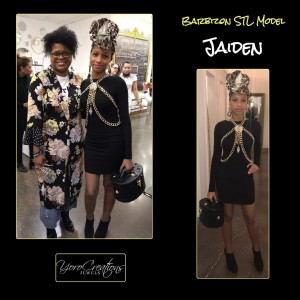 Jaiden, Barbizon St. Louis grad, walked in a charity fashion show for Yoro Creations