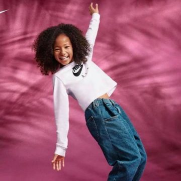 Jazlynne jumping in Nike clothes