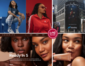 collage of Josilyn in red and blue Adidas outfits, on the Times Square billboard, and in the CoverFX campaign