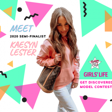 "Kaseyn posing with a bag on a colorful graphic that says ""Meet 2020 Semifinalist Kaesyn Lester"""