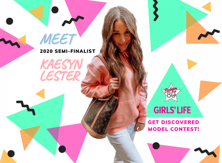 """Kaseyn posing with a bag on a colorful graphic that says """"Meet 2020 Semifinalist Kaesyn Lester"""""""