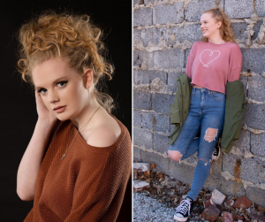 headshot of Kaitlyn next to a body shot of her modeling casual wear