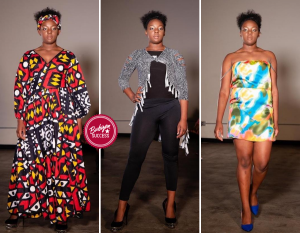Collage of Kassidy posing in different outfits on the runway