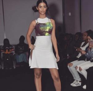 Kimberly Marte, Barbizon of Manhattan graduate, walked in a fashion show for designer Shy Corner, at the Marriott Courtyard Manhattan New York