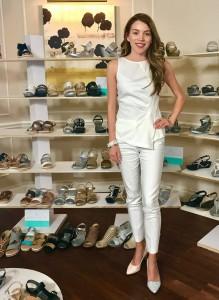 Laura, Barbizon TV grad, models shoes for Baretrap and Andrew Geller Shoes