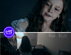 Stills of Layla taken from the short film, one closeup with a pale face, and the other from the back of her seated in a child's room