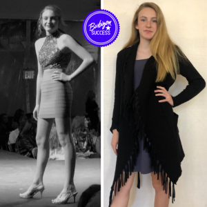 side by side images of Rachel Lucas posing on the runway and off