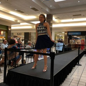 Samantha Fisher, Barbizon PA grad, walked in a back to school fashion show for Boscov's, Piercing Pagoda and Regis Salons