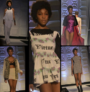 Siauni Boreland, Barbizon of Atlanta grad, walked in Atlanta's Walk Fashion Show wearing Anita Evans Collection, FarrierBell by Alex Holliman, Virtue by Terrell Kimbrough, C Denim & Rita Mata