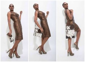 Yemi modeling in a brown cocktail dress in different poses
