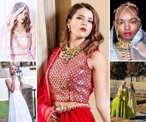 collage of Barbizon Red Bank grads modeling in different Glamour Rental designer clothes