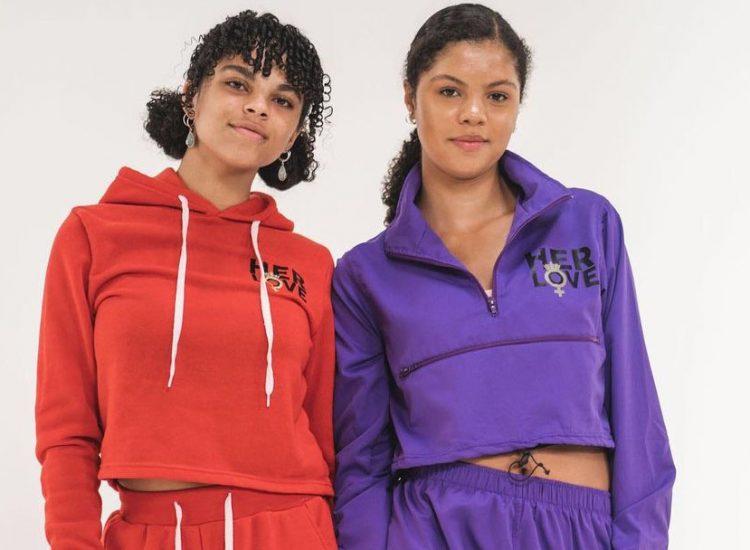 Barbizon Southwest alumni Lily & Elke modeling designer colored sweatsuit sportswear